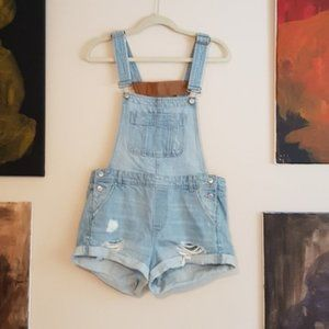 H&M Coachella collection light denim short overall